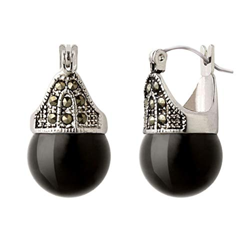 Linda Schnoll Hematite and Ball Hinged Pierced Earrings - Jet Black Jade