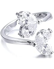 للنساء خاتم فضة مرصع بفصوص الزركون المشرقة قياس قابل للتعديل من جويل اور