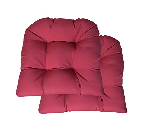 RSH Décor Indoor ~ Outdoor Sunbrella Tufted Wicker - Set of 2 ~ U-Shaped Chair Cushions ~ Choose Color (Canvas Hot Pink)