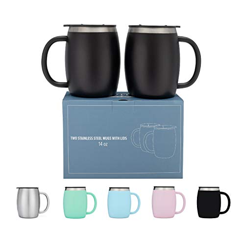 Stainless Steel Coffee Mugs with Lids - 14 Oz Double Walled Insulated Coffee Beer Mugs - Set of 2 - Black - Best Value - BPA Free Healthy Choice - Shatterproof and Spill Resistant - By Avito