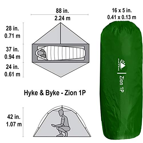 Hyke & Byke 1 Person Backpacking Tent with Footprint – Lightweight Zion One Man 3 Season Ultralight, Waterproof, Ultra Compact 1p Freestanding Backpack Tents for Camping and Hiking (Forest Green)