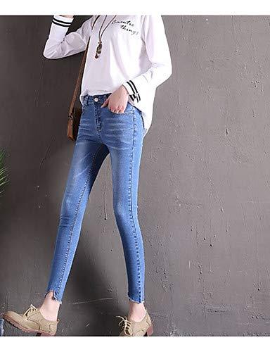 Para Pantalones Básicos Jeans Color Mujeres Black Yfltz Sólido tvqSApn66