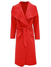 Womens Plain Long Sleeves Duster Cape Belted Waterfall Coat