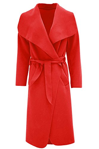 Rouge Belted Long Fashion Cape Femmes Duster Plain Manches Manteau Fast Les Cascade IP8ff4