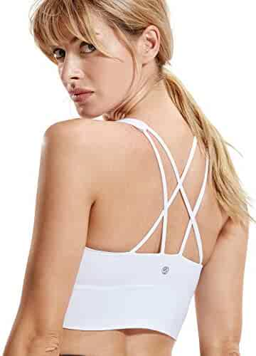 4713054d64039 CRZ YOGA Women s Cross Back Wirefree Removable Cups Longline Yoga Sports Bra