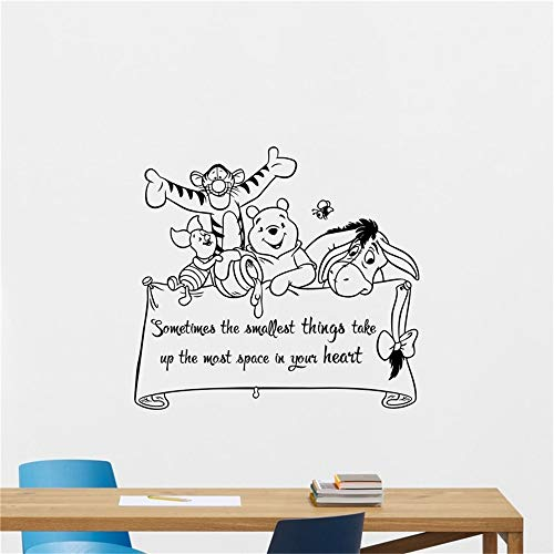 Winnie The Pooh Wall Decal Lettering Wall Sticker Wall Art Kids Teen Boy Room Design Modern Bedroom Art Decor for Kid Bedroom