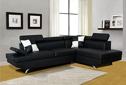 Beverly Furniture F2801B-2PC-BK 2 Piece Faux Leather Left Facing Sectional Sofa Set, Black