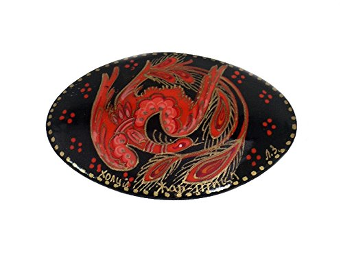 Beautiful Russian Hand Painted Lacquer Brooch-Pin THE FIREBIRD (oval shape) (Firebird Pin)