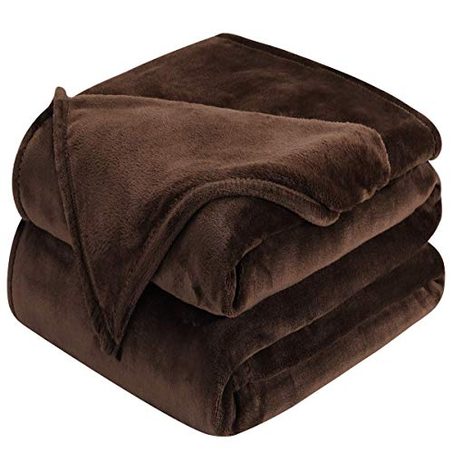HOMEIDEAS 380GSM Extra Soft Fleece Blanket Queen/Full Size Fuzzy Winter Super Warm Flannel Blanket for Couch Bed 90 x 90 Inches Brown (Cheap Couches Super)