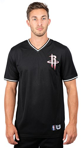 NBA Houston Rockets Men's Jersey T-Shirt V-Neck Mesh Short Sleeve Tee Shirt, Large, Black