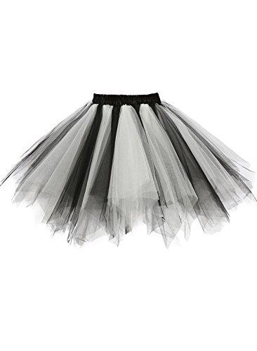 emondora Women's Tutu Tulle Petticoat Ballet Bubble Skirts Short Prom Dress Up Black/White Size XXL-XXXL -