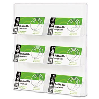 - deflect-o 70601 - Six-Pocket Wall Mount Business Card Holder, 8 3/8 x 1 1/2 x 9 3/4, Clear-DEF70601