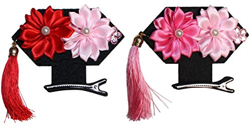 Qing Dynasty Costume (Lucore Chinese Flower Girls Headpiece Hairpins - 2 PC Qing Dynasty Princess Mini Headdress, Manchu Costume Hat & Hair Decoration (Daisy))