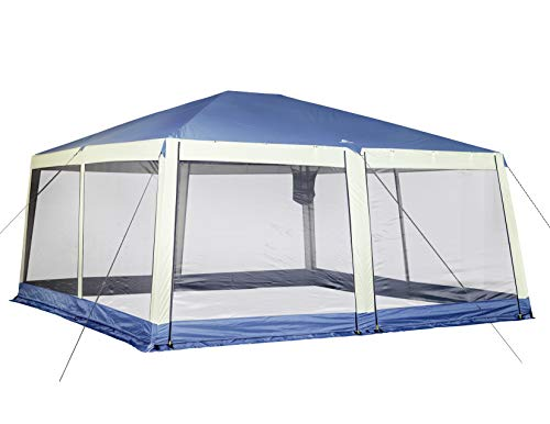 Tough Durable Spacious All Weather Easy Set Up and Store Ozark Trail Grand Gazebo Blue/White - Perfect for Picnics, Tailgating, Camping and Any Outdoor Activity