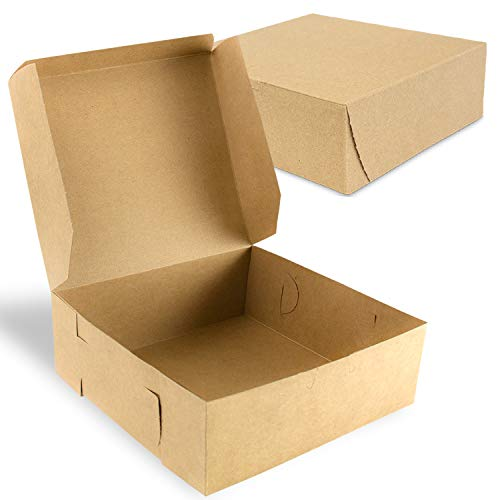 Aoligo 30PCS Bakery Pie Boxes with Window Kraft Paperboard Pastry Box Cookie Boxes 6x6x3 inches White