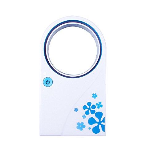 New Design Mini Portable Bladeless Fan Amazing Refrigeration USB Desktop Leaf Air Conditioner Fan (Blue)