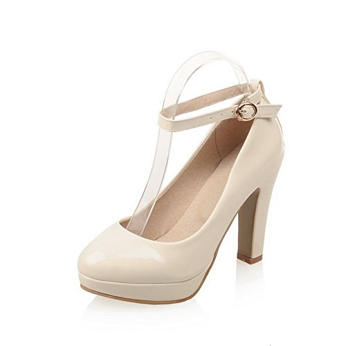 Heels Leather Patent Lace - BalaMasa Womens Metal Snap Square Heels Beige Patent Leather Pumps-Shoes - 4 B(M) US