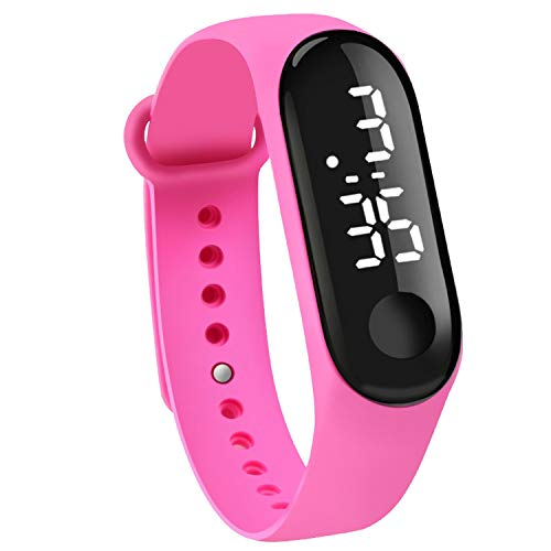 Touch Sn Dial White Light Display Silicone Strap Men Women Wrist Student Kids Sport Outdoor Clock - Silicone Green Light Dial