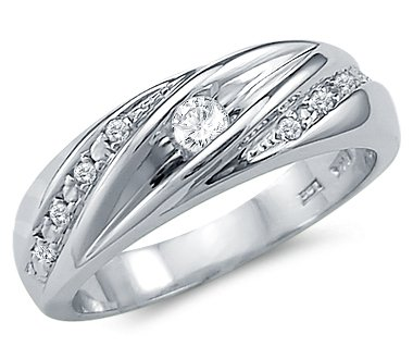 size 7 solid 14k white gold mens matching wedding band cz cubic zirconia ring - White Gold Cubic Zirconia Wedding Rings