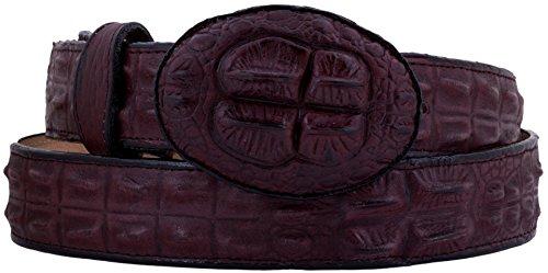 El Presidente - Men's Burgundy Crocodile Hornback Print Leather Belt Round ()