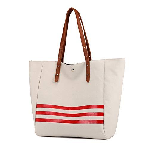 Bag Borsetta Tote Spalla Di brown Grande Signore Zaino Mxqh Casual Donna Capacità Borsa Tela Red Wild qwCESx8T