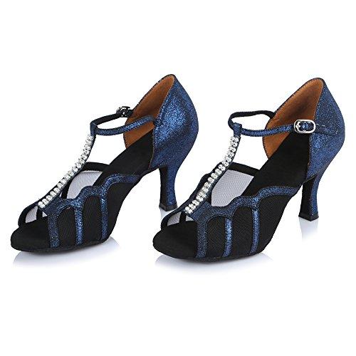 FR Strass en Latine pour Danse de Chaussons l'Femme HROYL 453 Bleu CIqxwX8aa