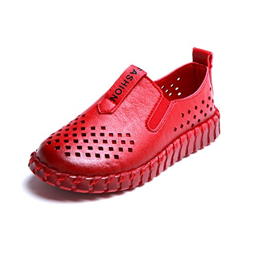 Eagsouni® Unisex-Kinder Atmungsaktive Mesh PU Leder Schuhe weiche Sohle LederSchuhe Rot