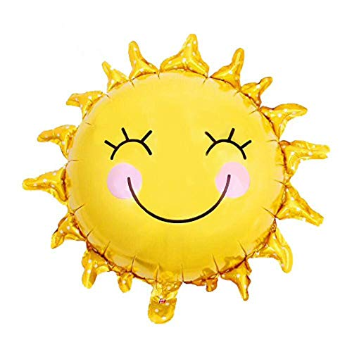 - 24 Inch Shiny Gold Sun Smiley Face Foil Mylar Balloons,Helium Balloons,Party Supplies Balloons,For Birthday,Wedding,Baby/Bridal Shower,Anniversary,Graduation,Summer Theme Party Decorations (5pcs)
