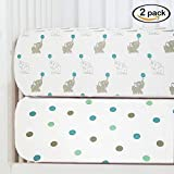 Baby Fitted Crib Sheets 2-Pack | Soft, Breathable & Comfortable 100% Jersey Cotton Bedding Set | 9'' Deep Pocket for All Standard Mattresses | Snug & Secure Nursery Toddler Sheets | Unisex Designs