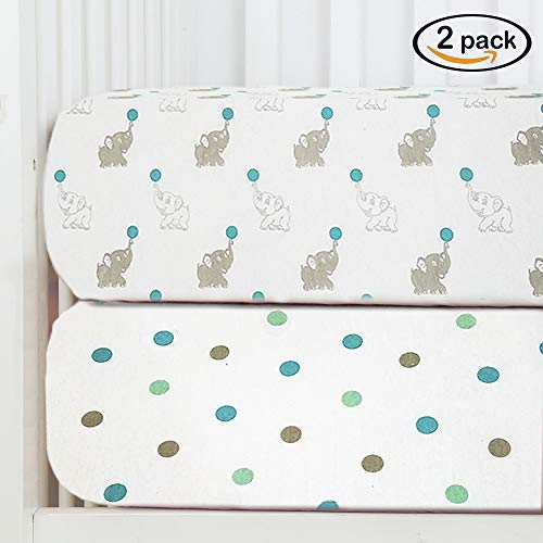 Deluxe Crib Organic (Baby Fitted Crib Sheets 2-Pack | Soft, Breathable & Comfortable 100% Jersey Cotton Bedding Set | 9
