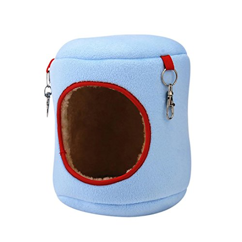 Kim88 Pet Hamster Hammock Squirrel Cage Durable Warm Cotton & Velvet Winter Bed Rat House Hanging Nest Toys (L, blue) ()