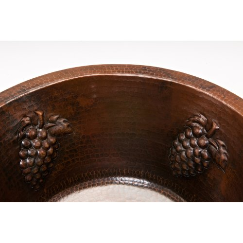 Premier Copper Products BR16GDB3 16-Inch Universal Round Hammered Copper with Grapes Sink and 3.5-Inch Drain Size, Oil Rubbed Bronze by Premier Copper Products (Image #2)