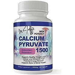 Dr. Jeff's High Potency Calcium Pyruvate 1500mg Daily Antioxidant Formula 60 Capsules - Includes Bonus Diet eBook