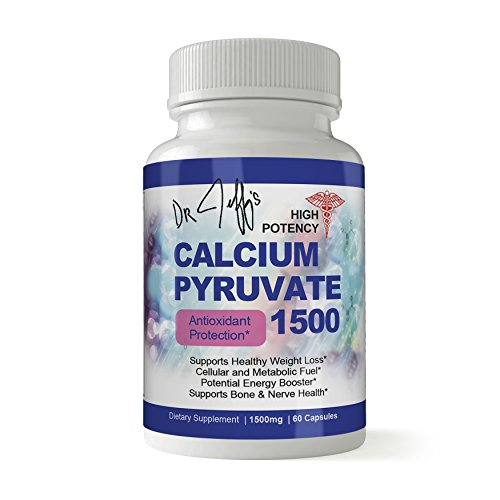 Dr. Jeff's High Potency Calcium Pyruvate 1500mg Daily Antioxidant Formula 60 Capsules - Includes Bonus Diet eBook