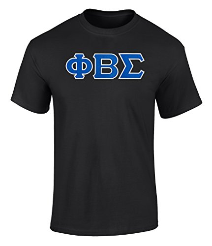 Fashion Greek Phi Beta Sigma Twill Letter Tee Black 1 Extra Large