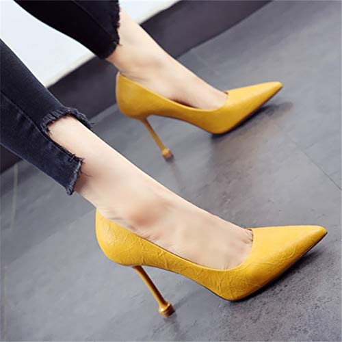 YMFIE high cat shoes mouth D with pointed shoes candy color heels European shoes stiletto party single work shallow Ladies tFZw8qrnt