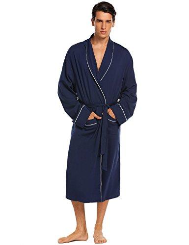 53d43d4570 Donet Bathrobe Mens Cotton Spa Robes Lightweight Bath Robe ...