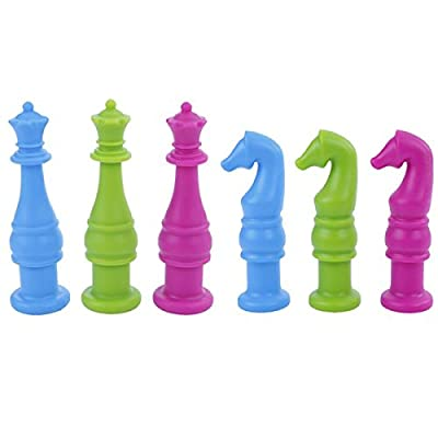 Chew-A-Roo Chess Piece Pencil Topper - Pack of 6 - Green, Pink, Sky Blue - Chewy for ADHD, Autism, Oral Motor Skills, Teething, Biting : Baby