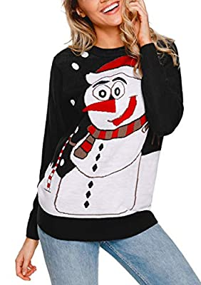 Utyful Womens Long Sleeve Crew Neck Snowman Christmas Cute Ugly Kint Sweater Top