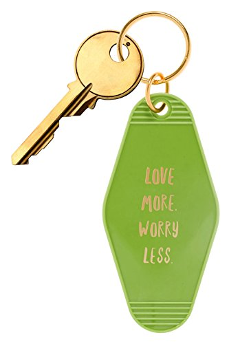 "Inspired Key Fob (Bops Retro Motel/Hotel Style Keychain ""Love More, Worry Less"" Vintage Inspired Keychain + Inspirational Quote)"