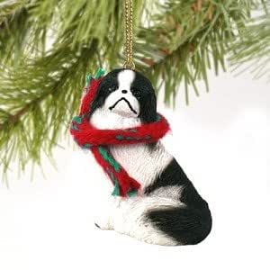 Black and White Japanese Chin with Scarf Ornament - Small