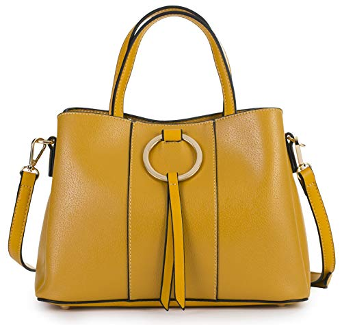 (MABEL LONDON Genuine Italian Soft Leather Medium Hobo Shopper Shoulder bag - LUMITRON [Mustard Yellow])