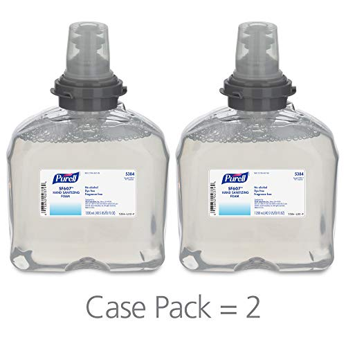 (PURELL TFX SF607 Hand Sanitizer Foam Refill, Fragrance Free, 1200 mL Sanitizer Refill for PURELL TFX Touch-Free Dispenser (Pack of 2) -)