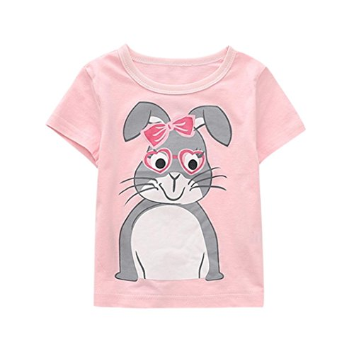 Winsummer Baby Boys Girls Summer Clothes Cotton Short Sleeve Rabbit T-Shirt Toddler Kids Cartoon Top Tee (Pink, 5T)
