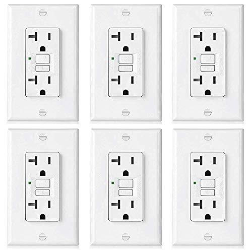 [6 Pack] BESTTEN 20-Amp GFCI Outlet, Slim GFI Receptacle with LED Indicator, Ground Fault Circuit Interrupter, Decorator Wall Plate Included, UL Listed, White, USG5 Series