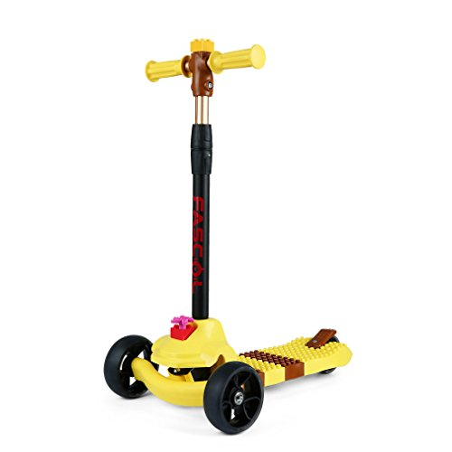 Price comparison product image Fascol Kick Scooter,3 Wheel Adjustable Height Scooter with Big Flash wheel,Weight Supported 110 lb,Yellow