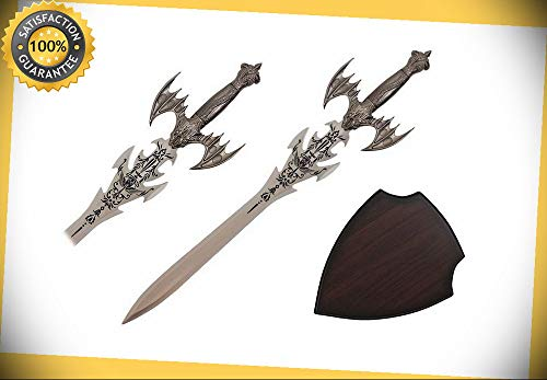 Fairies Name Plaque - 25'' Fantasy Skull Sword with Wooden Plaque perfect for cosplay outdoor camping