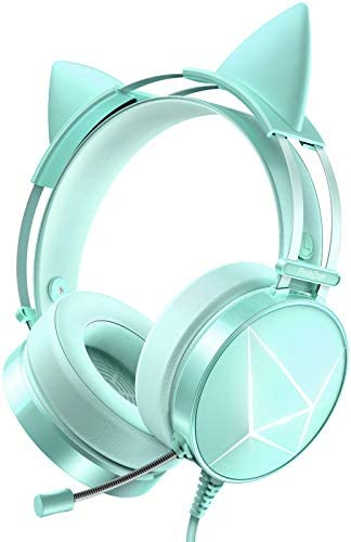 PeohZarr Green Gaming Headset, PS4 Headset, Xbox One Headset with 7.1 Surround Sound, PC Headset with LED Lights, PS5 Headset with Detachable Cat Ear Headphones