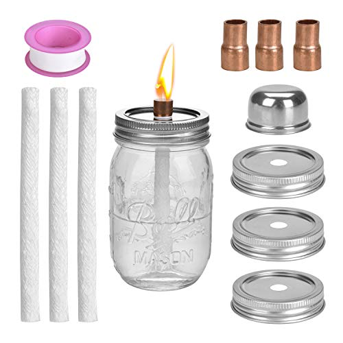 LinkBro Mason Jar Tiki Torch Kits,Includes 3 Long Life Torch Wicks,3 Mason jar Lids,3 x Copper Coupling Reducer,Teflon and Cap,Just add Mason Jars & Fuel for Outdoor Lighting -