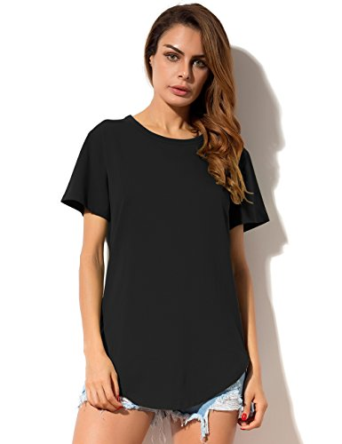 MOQUEEN Womens Sides Zipper Loose Fit T Shirts Cotton Crew Neck Long Tunic Tee